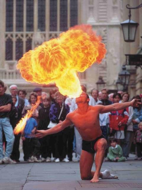 Fire-eater outside Bath Abbey